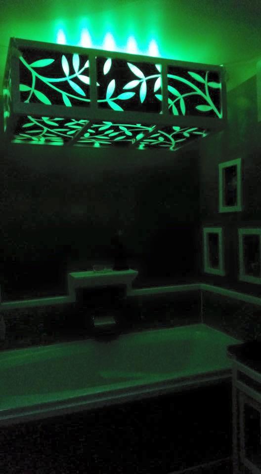 Log Home Rainforest Master Bathroom Whirlpool Light Fixture
