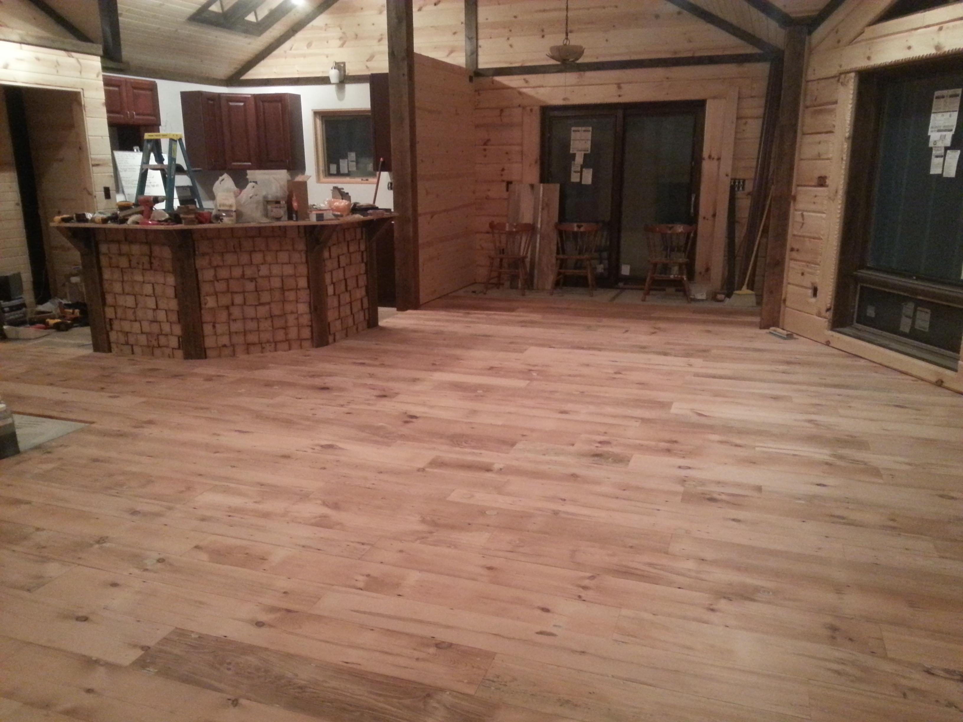 Barnwood Floor and Island Finished