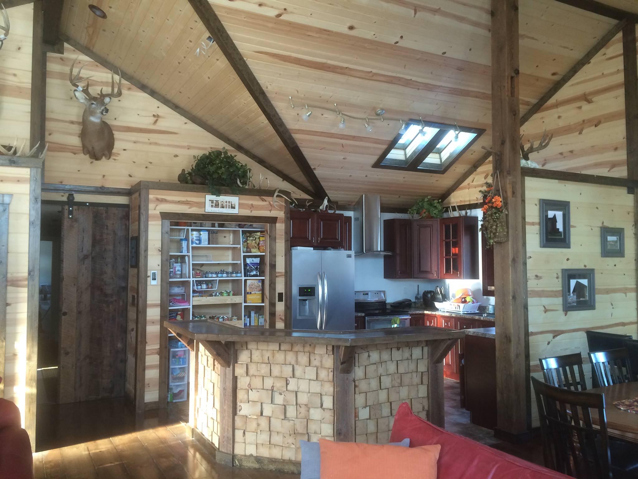 Log Home Kitchen Barnwood Island