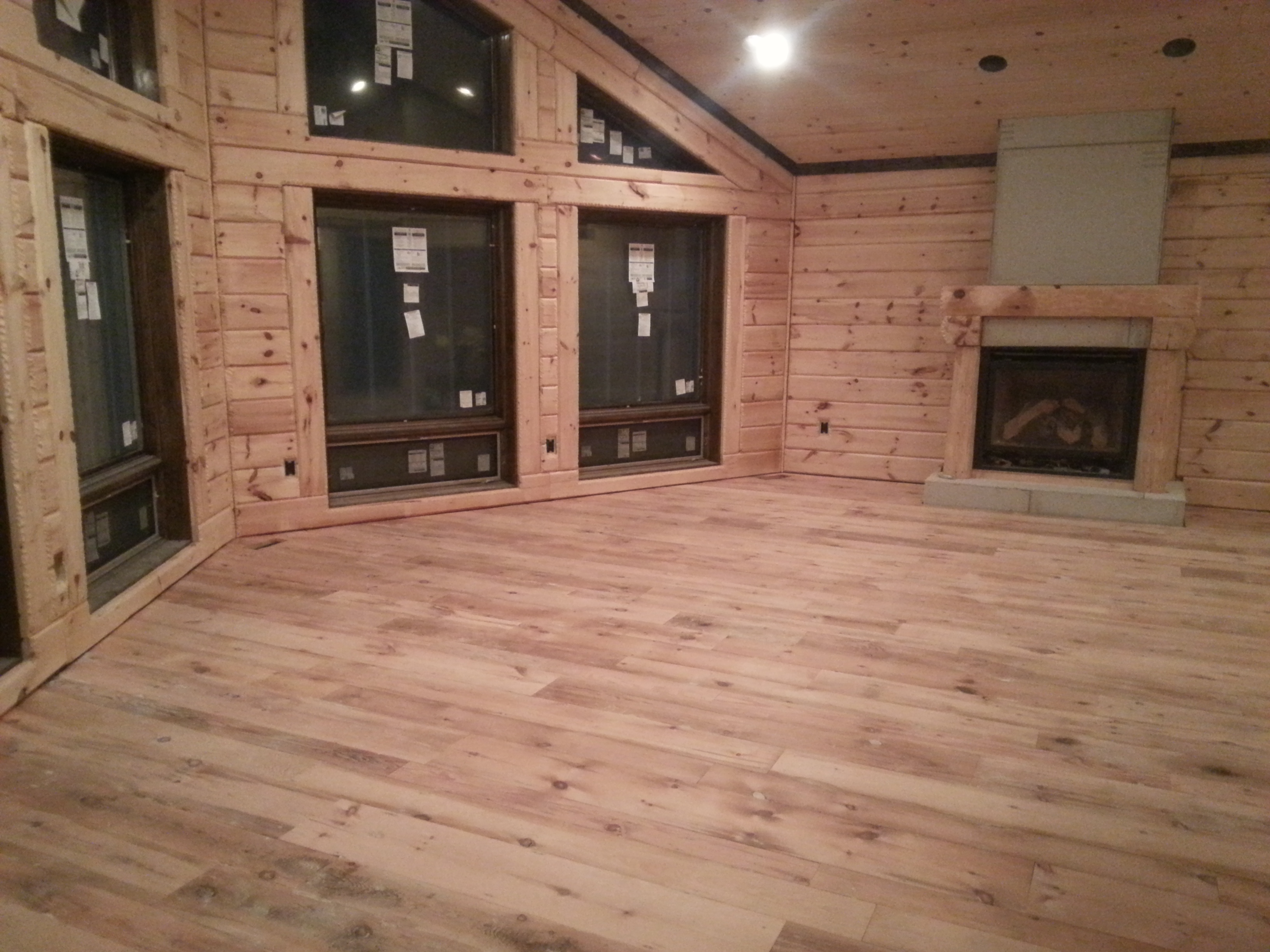 Great room floor and wall done