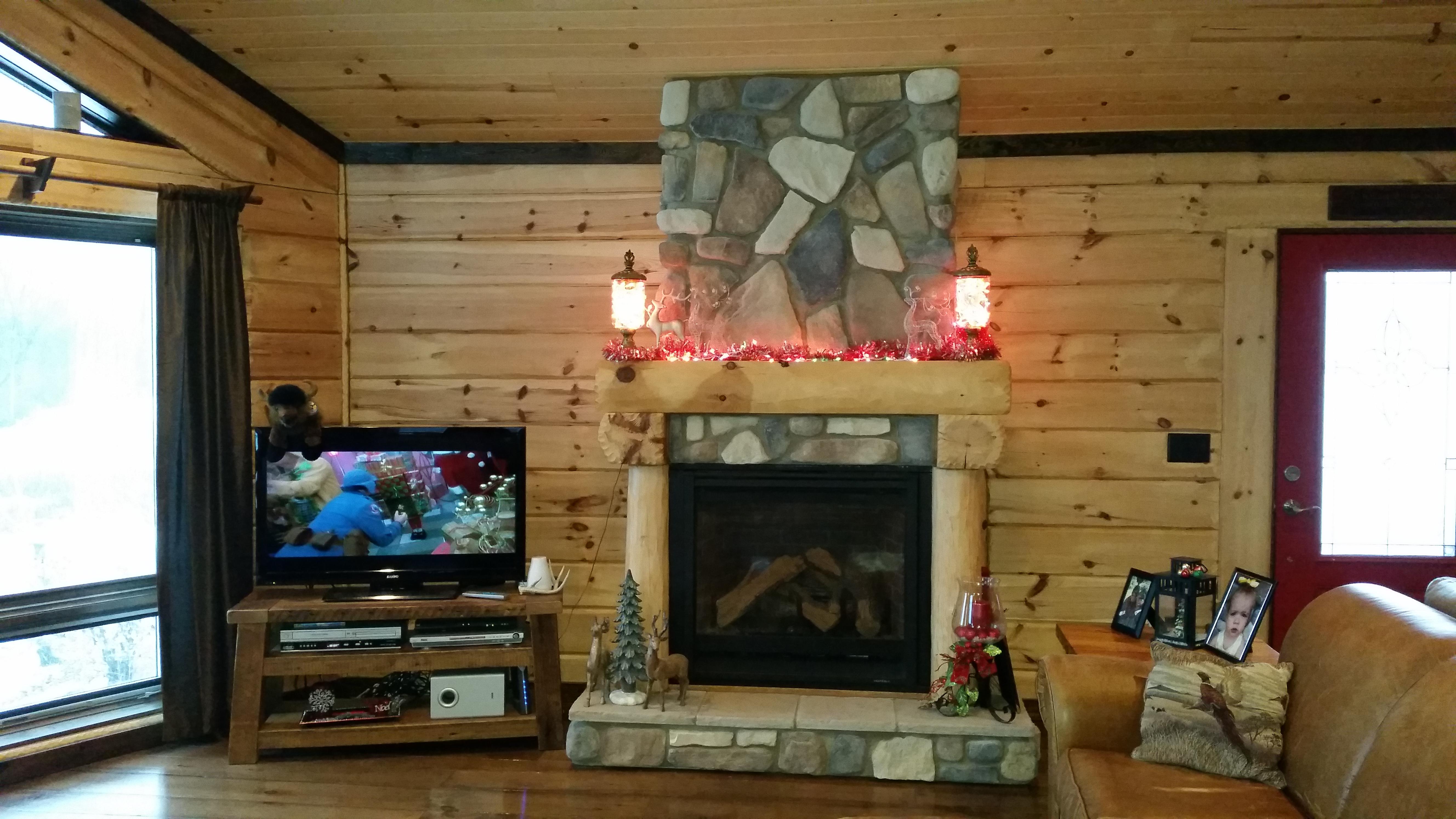 Log Home Fireplace Christmas 2016