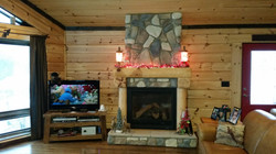Log Home Fireplace Christmas 2016