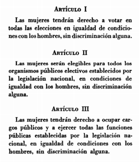 1 Convention on women's political rights 2  Article I: Women has right to vote in every elections in equal conditions with men, without any kind of discrimination. Article II: Women will be eligible for all public organisms electives established by national legislation, in condition of equality with men, without any kind of discrimination. Article III: Women has right to hold public offices and exercise all public functions established by national legislation, in condition of equality with men, without any kind of discrimination