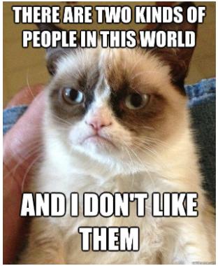 Grumpy Cat dislikes two kinds of people