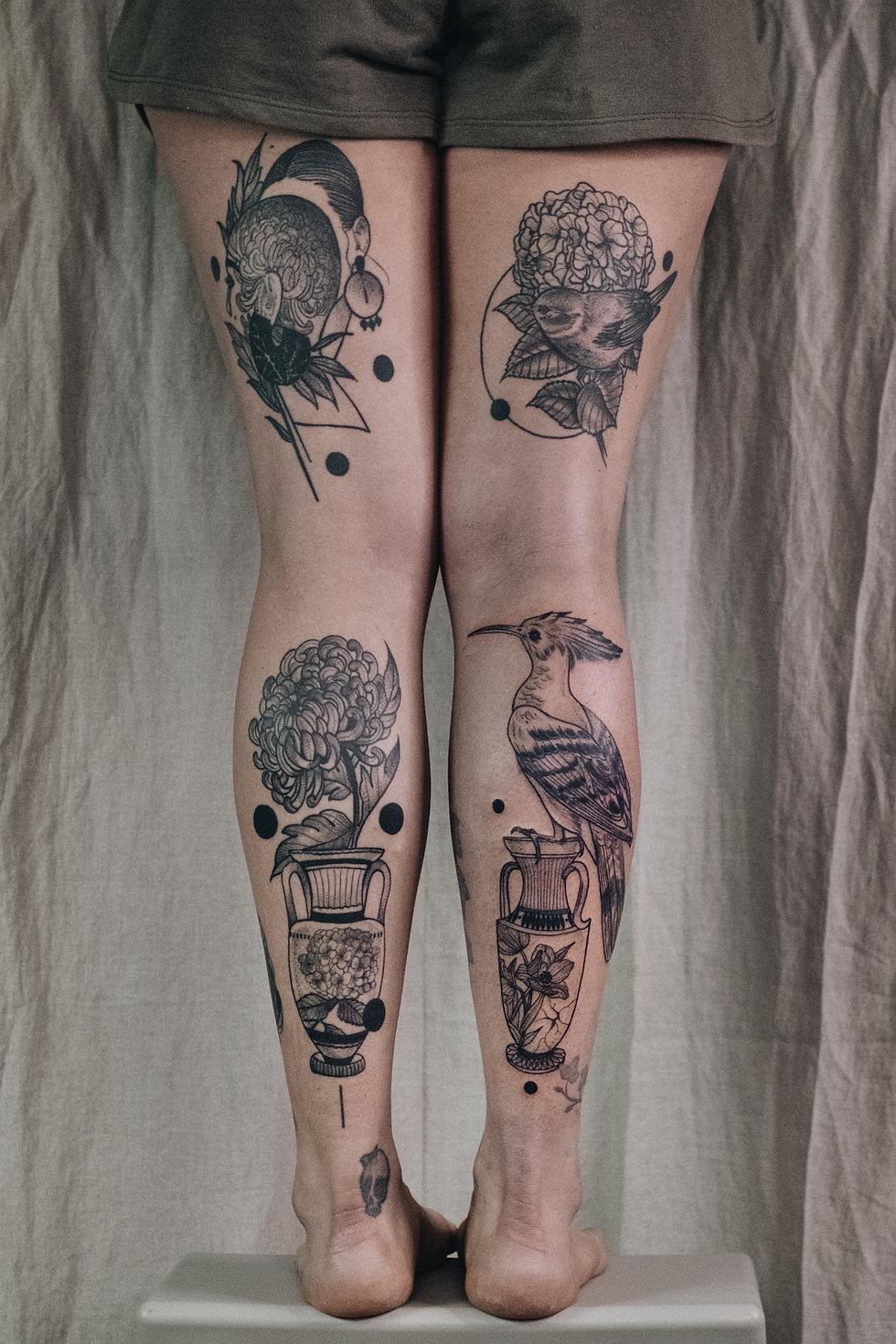 Bein Tattoo,Vase Tattoo mit Vogel und Chrysantheme von Eva Schatz, MINT CLUB Salzburg