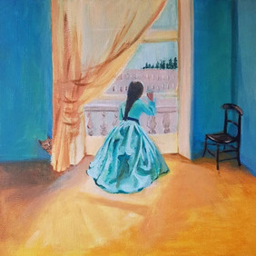 Girl at Window With Yellow Interior