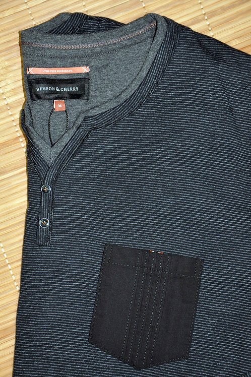 TAROSS T Shirt ML rayures fines , noir