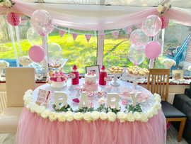 Baby shower table skirt and BABY letters