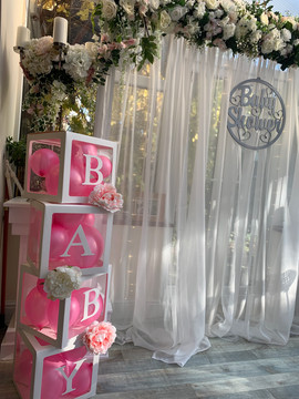 BABY boxes, Isabella arch, Baby shower signage