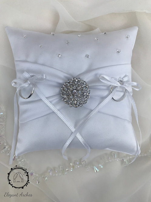 Richmond Crystal Ring Pillow Ivory/White