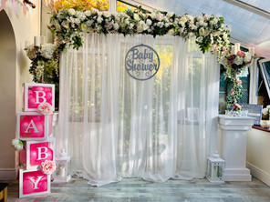 Isabella arch, Baby shower signage, BABY boxes, pedestals & candelabras