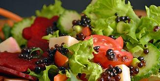 balsamic beads on salad