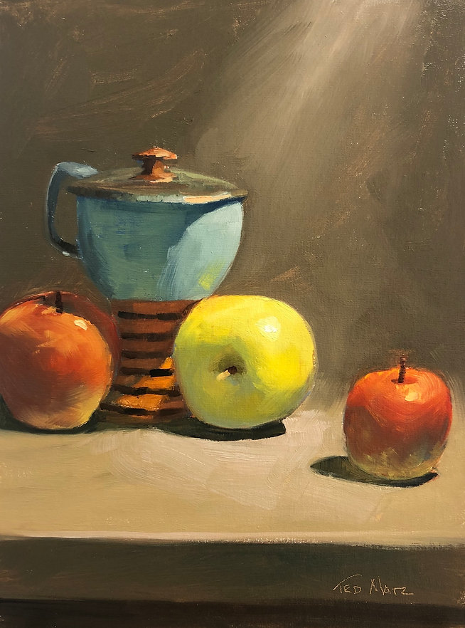 4 STILL LIFE APPLES AND COVERED CUP 12X9  Oil on Canvas $450.jpeg