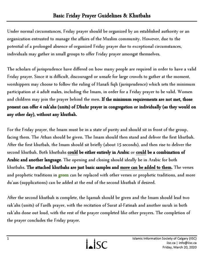 Basic Friday Prayer Guidelines & Khutbahs