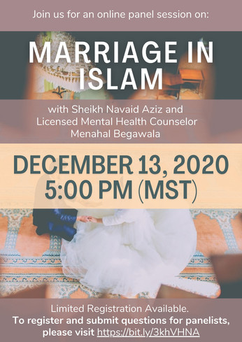 Marriage Panel Event with Sh. Navaid Aziz and Sr. Menahal Begawala