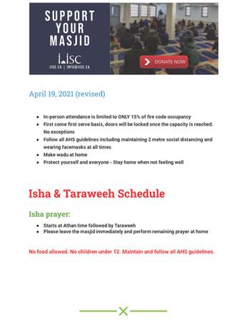 Isha & Taraweeh Schedule