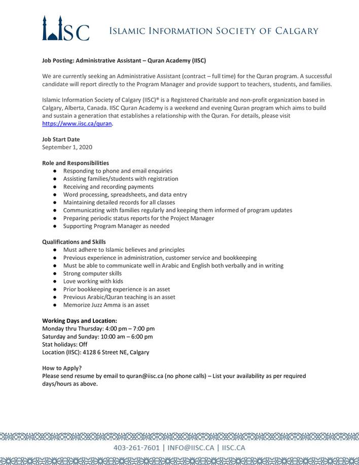 Job Posting: Administrative Assistant – Quran Academy (IISC)