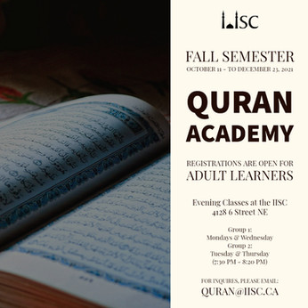 Quran Academy Fall Semester Registrations open for Adult Learners