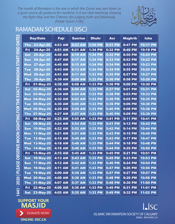 Ramadan Schedule 2020   1441