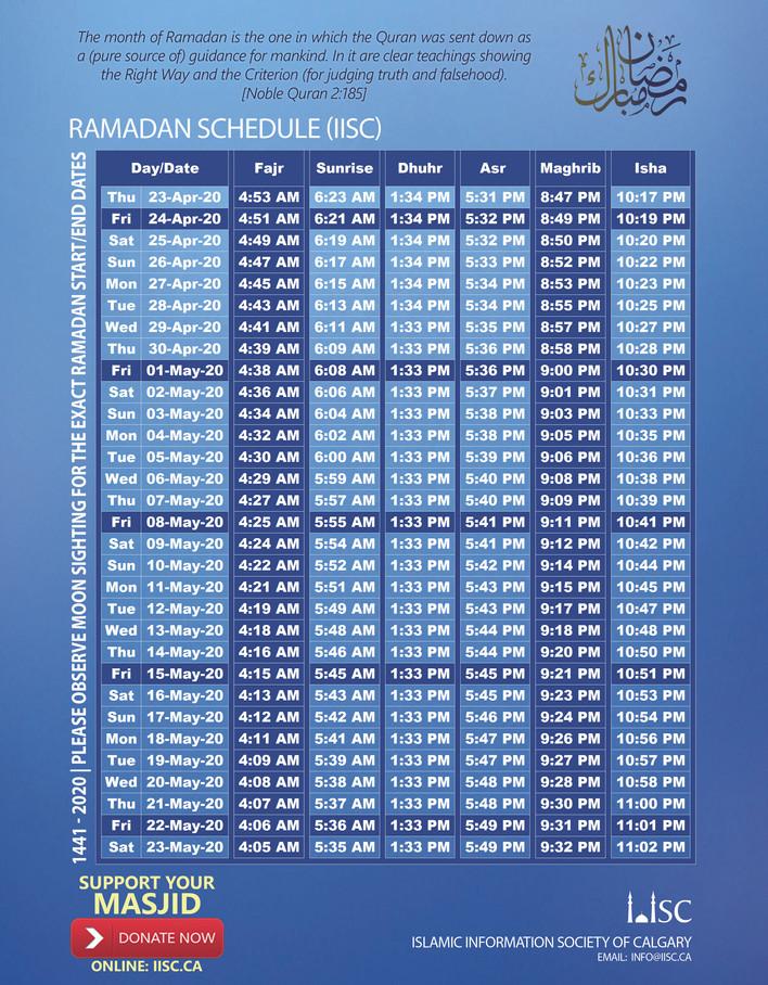 Ramadan Schedule 2020 | 1441