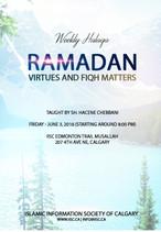 Ramadan - Virtues and Fiqh Matters taught by Sh. Hacene Chebbani