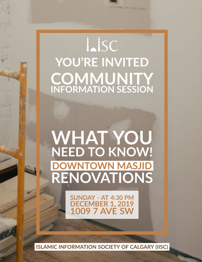 You're Invited - Community Information session: Downtown Masjid Renovations