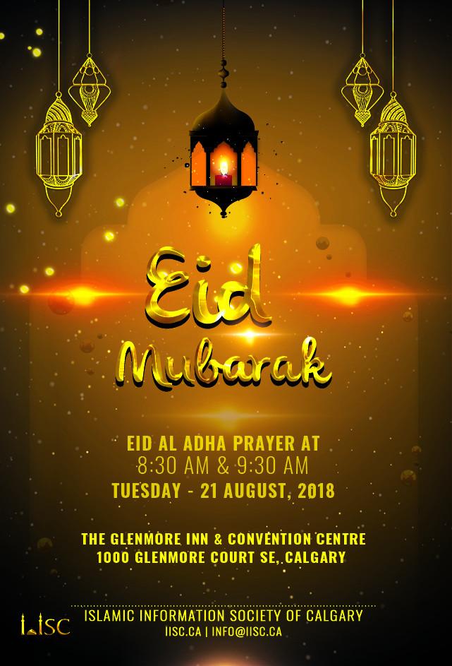 Eid al Adha Prayers on Tuesday – 21 August at 8:30 AM & 9:30 AM