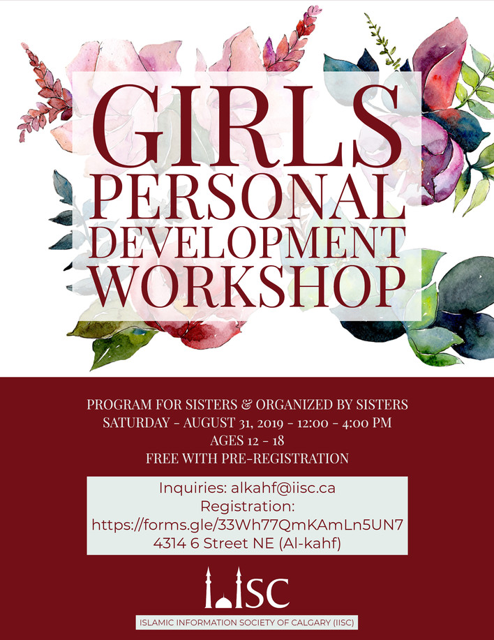 Girls Personal Development Workshop will be held on August 31st from 12:00 PM - 4:00 PM