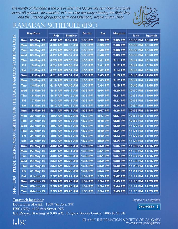 Ramadan Schedule and Taraweeh locations (IISC) - 2019
