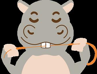 Flossing hippo cartoon.