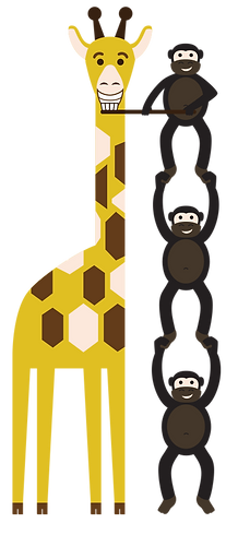Three smiling monkies stacked up to brush the teeth of a smiling giraffe.