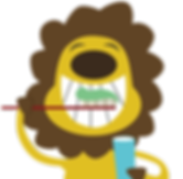 Happy lion brushing teeth