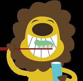 Happy lion brushing teeth