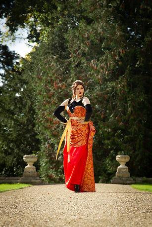 Bespoke designer dress on location