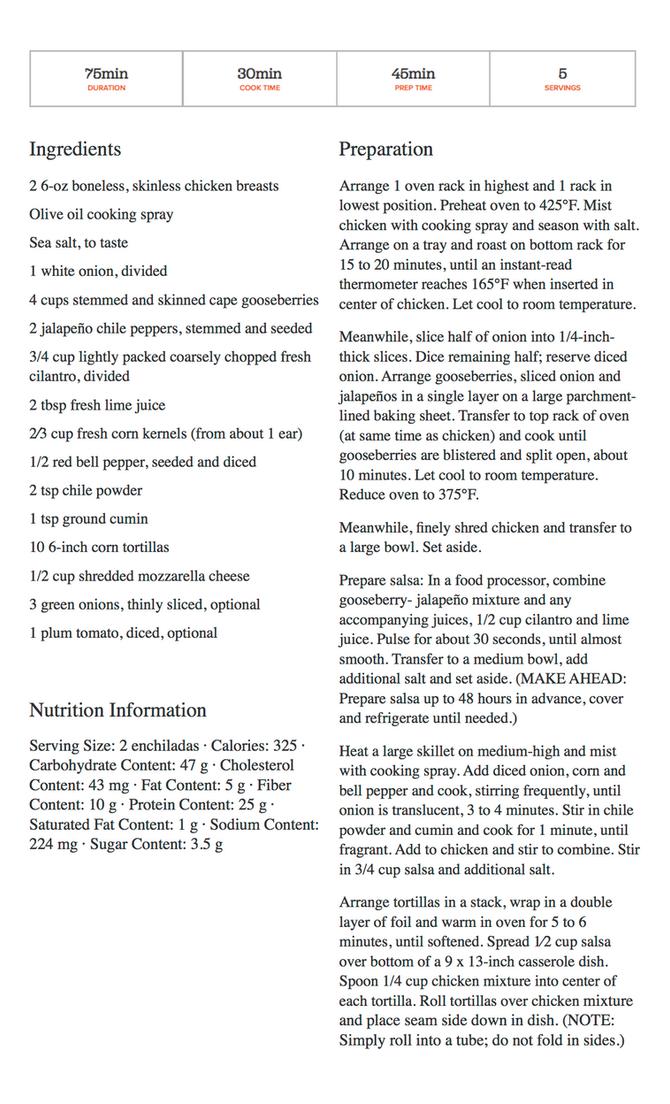 Chicken Enchiladas with Corn & Cape Gooseberry Salsa