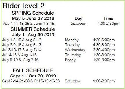 Rider Level 2 2019 schedule.JPG