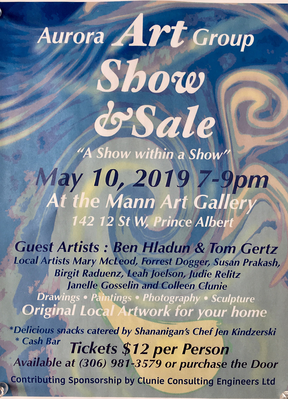 Poster for Aurora Art Group show & sale at mann art gallery on may 10 from 7 - 9 pm