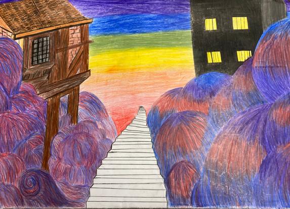 Jaelynn Dumont, Untitled, coloured pencil, PACI: Gr. 10