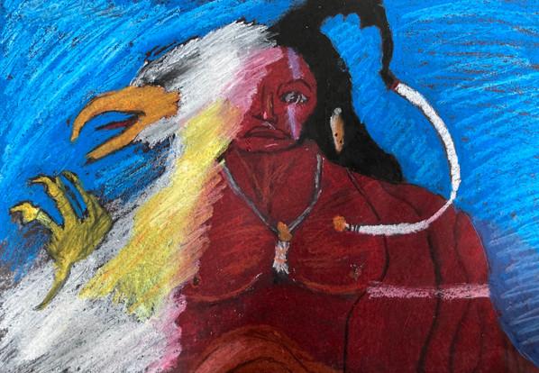 Clarise Reynolds, Untitled (after Dale Auger), oil pastel, PACI: Gr. 9