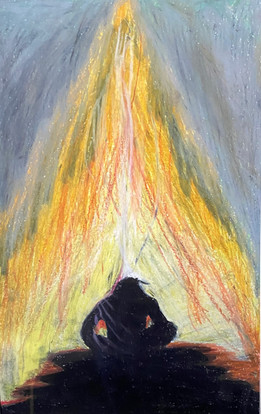 Evan Abbott, Untitled (after Dale Auger), oil pastel, PACI: Gr. 9