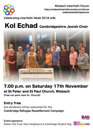 Poster for Kol Echad performing in Wisbech