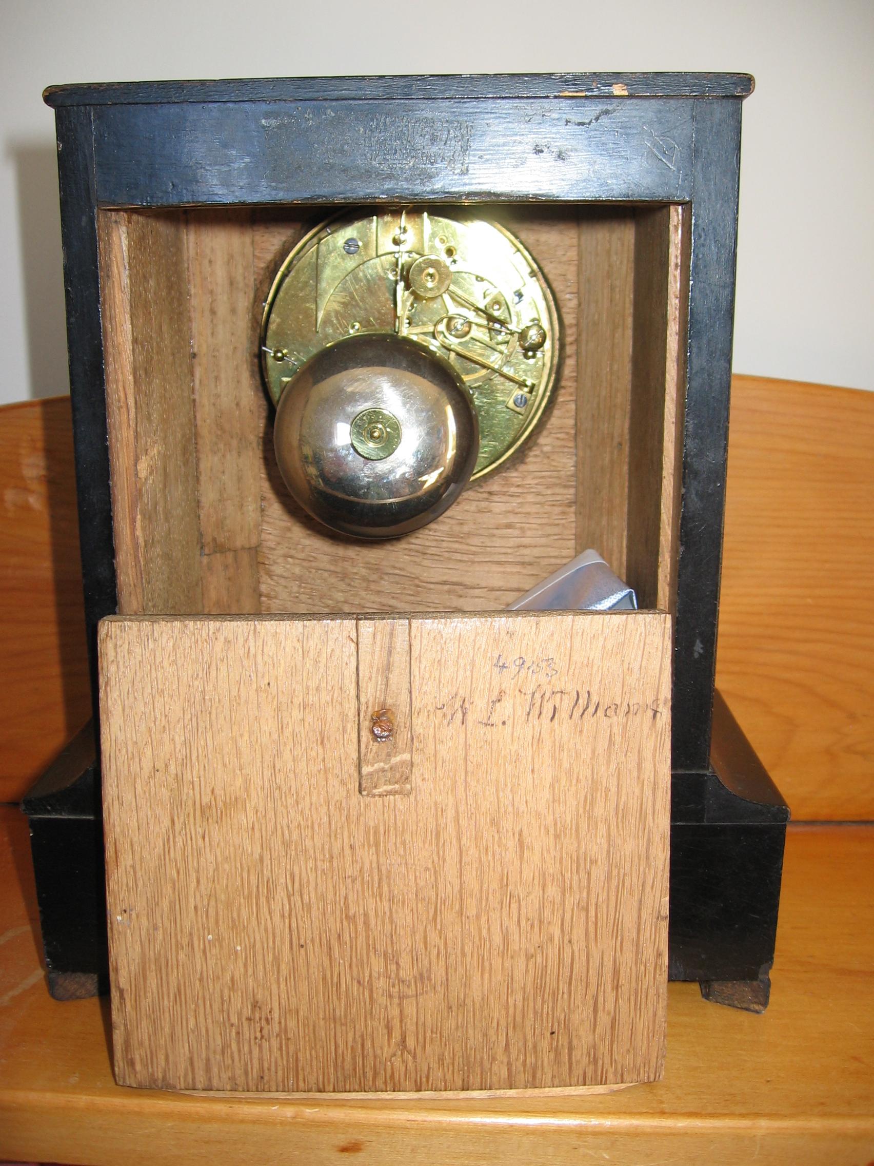 Back/Interior of Mantlepiece Clock