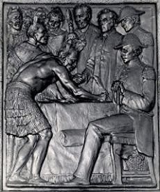 Bronze Plaque depicting signing of Treat