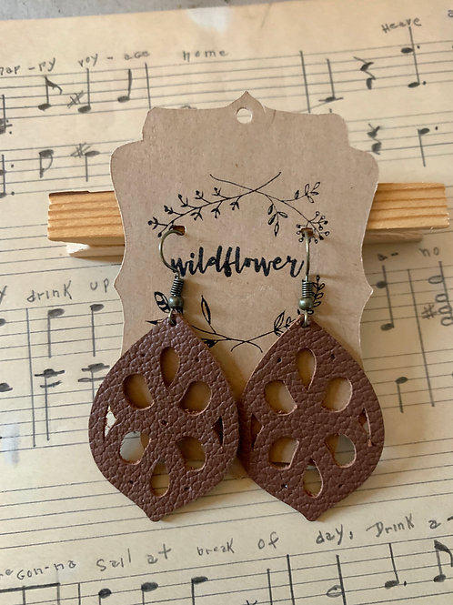 Cutout Brown Leather Earrings