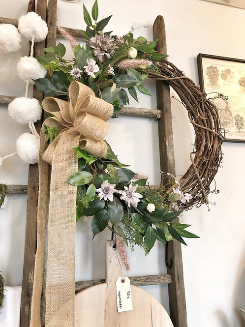 """Grapevine Wreath with Permanent Florals 28"""""""