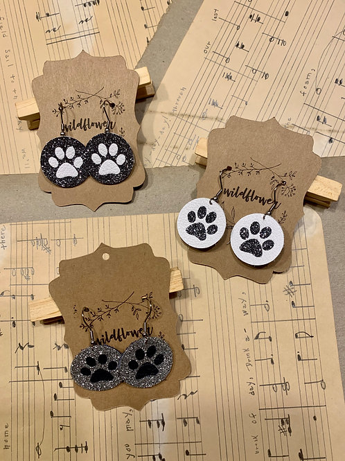 Paw Print Leather Earrings with Glitter Applique
