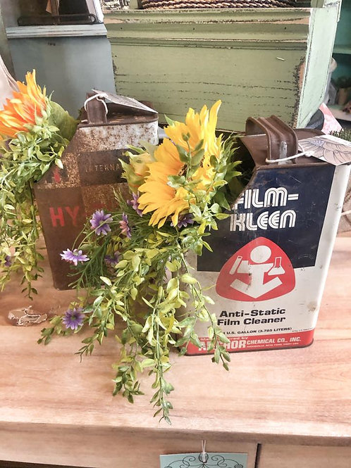 Vintage Containers with Permanent Florals