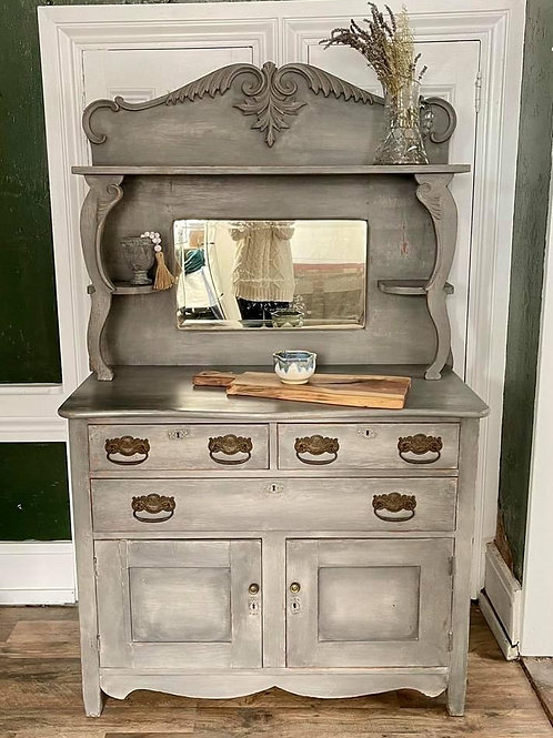 Buffet with Mirror | Graphite and French Linen by Annie Sloan Chalk Paint