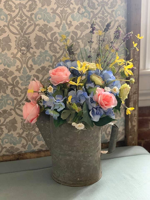 Pink & Blue Permanent Flowers in Watering Can