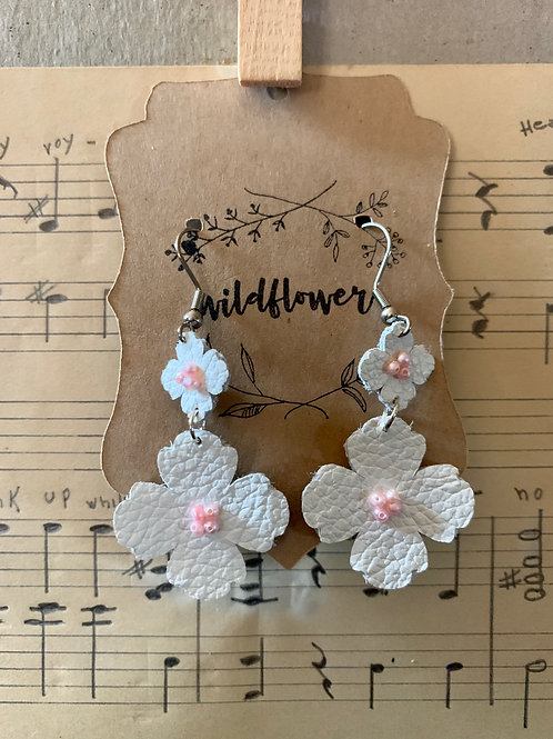 White Leather with Pink Seed Pearls Earrings